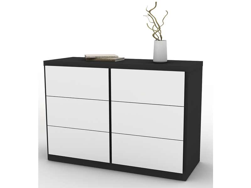 Commode 6 tiroirs LANO coloris blanc et noir  Vente de Commode enfant  Conforama