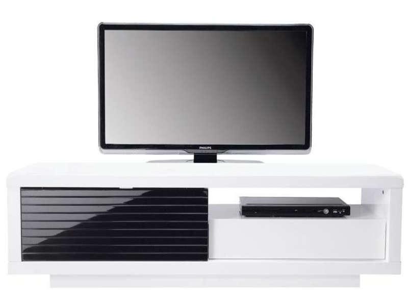 meuble tv conforama noir et blanc laque