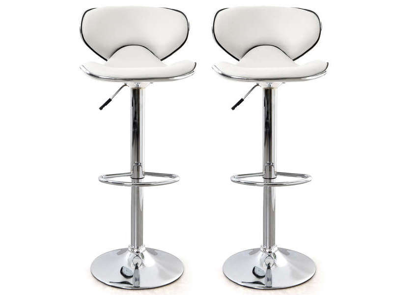 lot de 2 tabourets de bar reglable en hauteur arno coloris blanc vente de bar et tabouret de bar conforama
