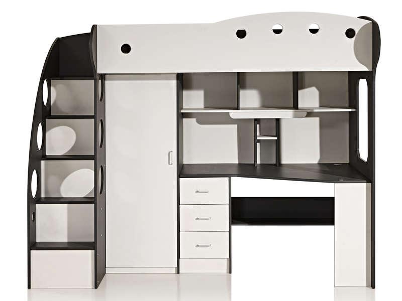lit mezzanine 90x190 cm sunny coloris blanc gris vente de lit enfant conforama