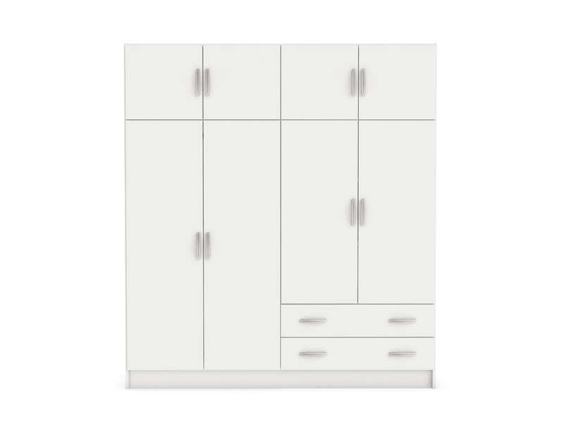 armoire 8 portes 2 tiroirs top 2 coloris blanc vente de armoire conforama