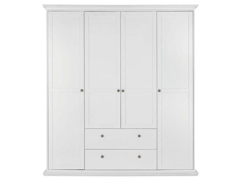 Armoire 4 Portes Battantes HARLINGTON Coloris Blanc