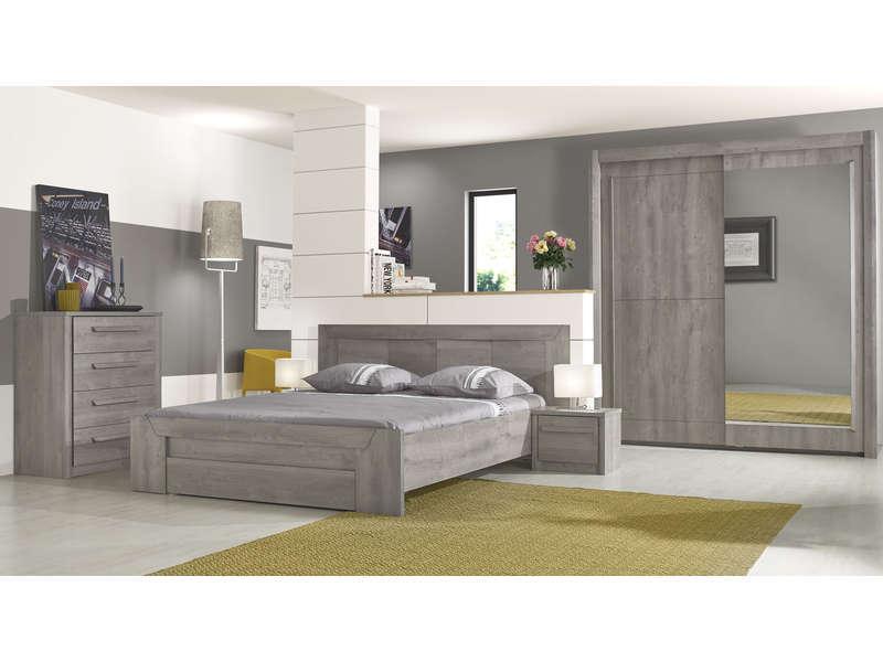 top chambre literie chambre adulte lit adulte lit x cm tiroir eden coloris chene gris p with. Black Bedroom Furniture Sets. Home Design Ideas