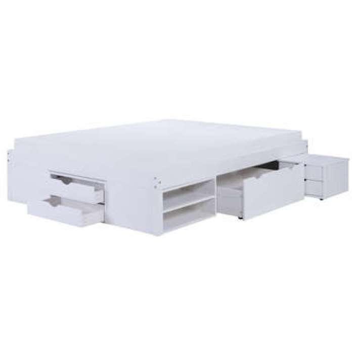 Lit adulte 160x200 cm WILLIAM coloris blanc