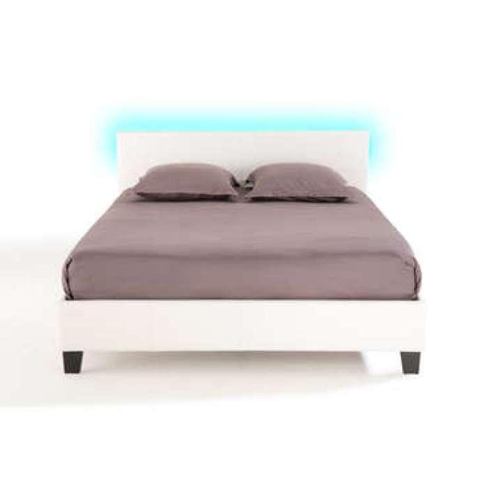 Lit adulte 140x190 cm avec led BLOOM LIGHT coloris blanc