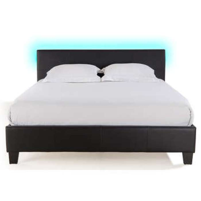 Lit adulte 160x200 cm avec led BLOOM LIGHT coloris noir