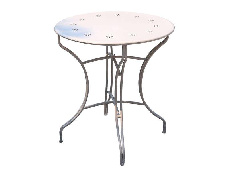 Table de jardin ronde en métal diam.70 cm FLORES coloris