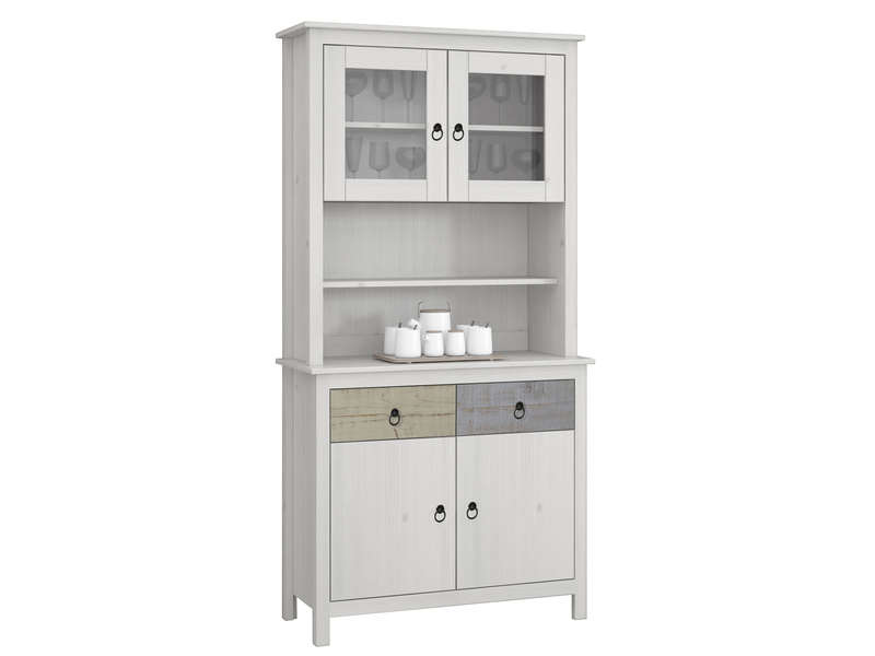 Vaisselier 2 portes  1 tiroir ROSA coloris blanc  Vente de Buffet bahut vaisselier  Conforama