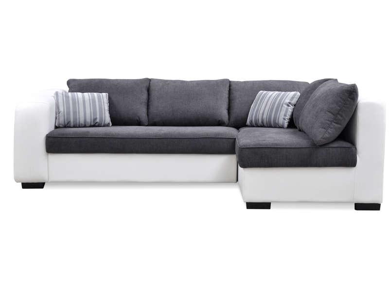 canape d angle convertible droit 5 places yann coloris blanc gris en tissu pu vente de canape d angle conforama
