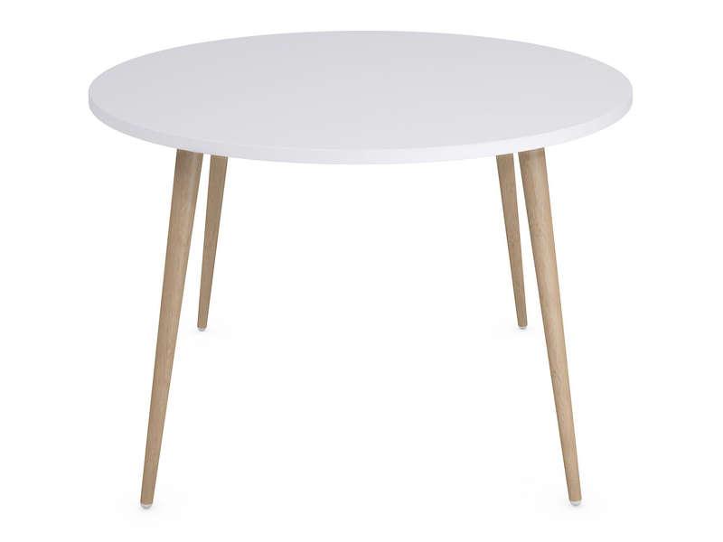 Table Ronde 120 Cm Soren Coloris Blancchêne Clair Vente