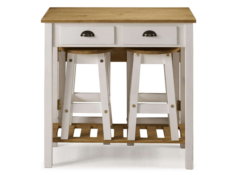 ensemble table pliante 2 tabourets en bois massif