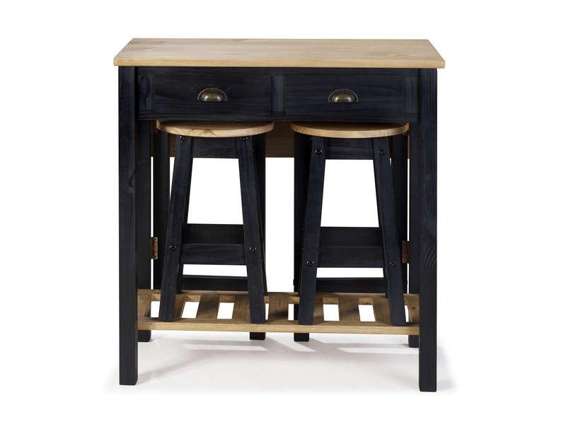 ensemble table pliante 2 tabourets en bois massif