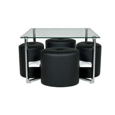 table basse carree en verre 4 poufs