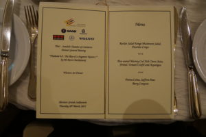 Dinner menu AGM Annual General Meeting TSCC Thai-Swedish Chamber of Commerce 2017 2560