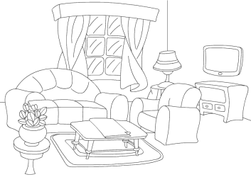 coloring room living colouring sheet pages clipart printable rooms livingroom chair print worksheets drawing bedroom clean sheets printables cookie turtlediary
