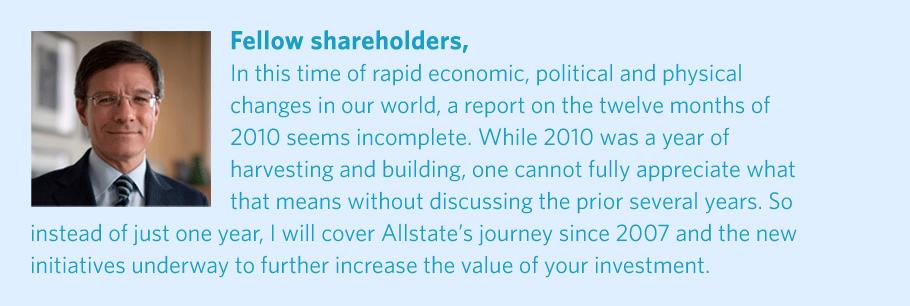 Allstate 2010 Annual Report  Letter to Shareholders