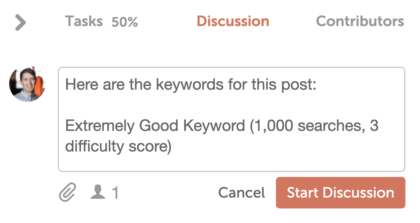 Basic keyword identification in CoSchedule discussions