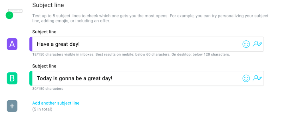A/B test subject lines