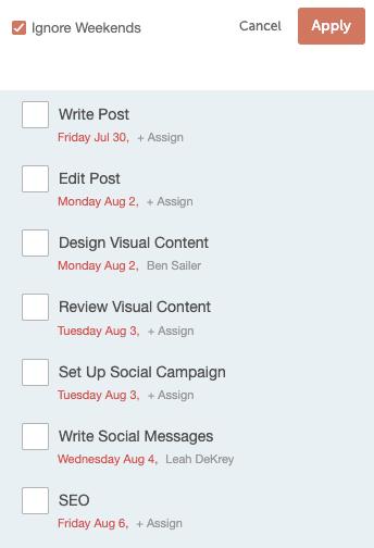 Task approvals in marketing calendar