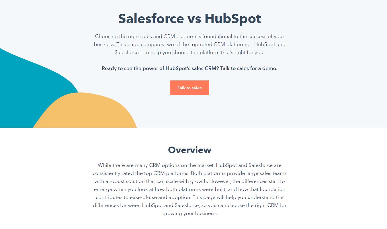 HubSpot product comparison