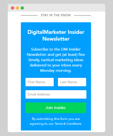 Newsletter opt-in form