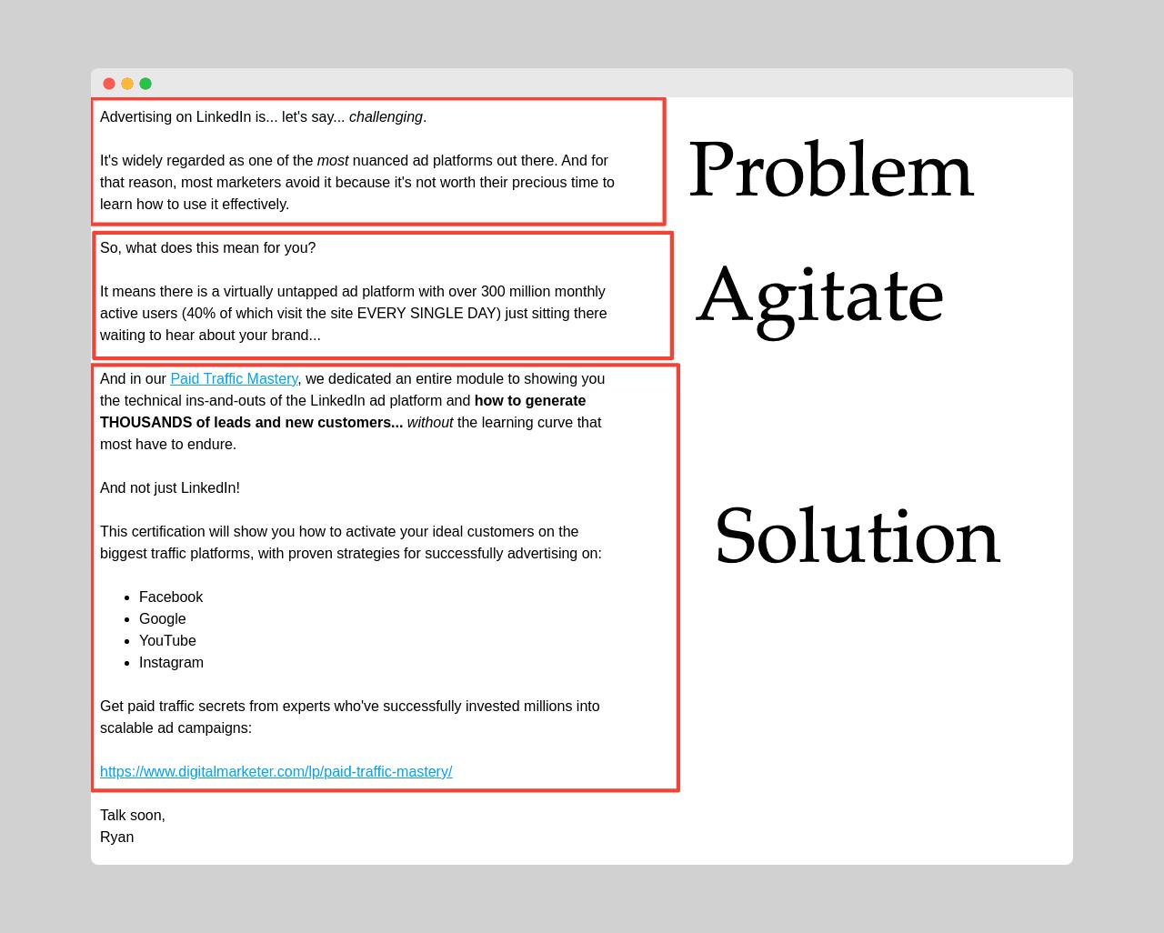 PAS copywriting example