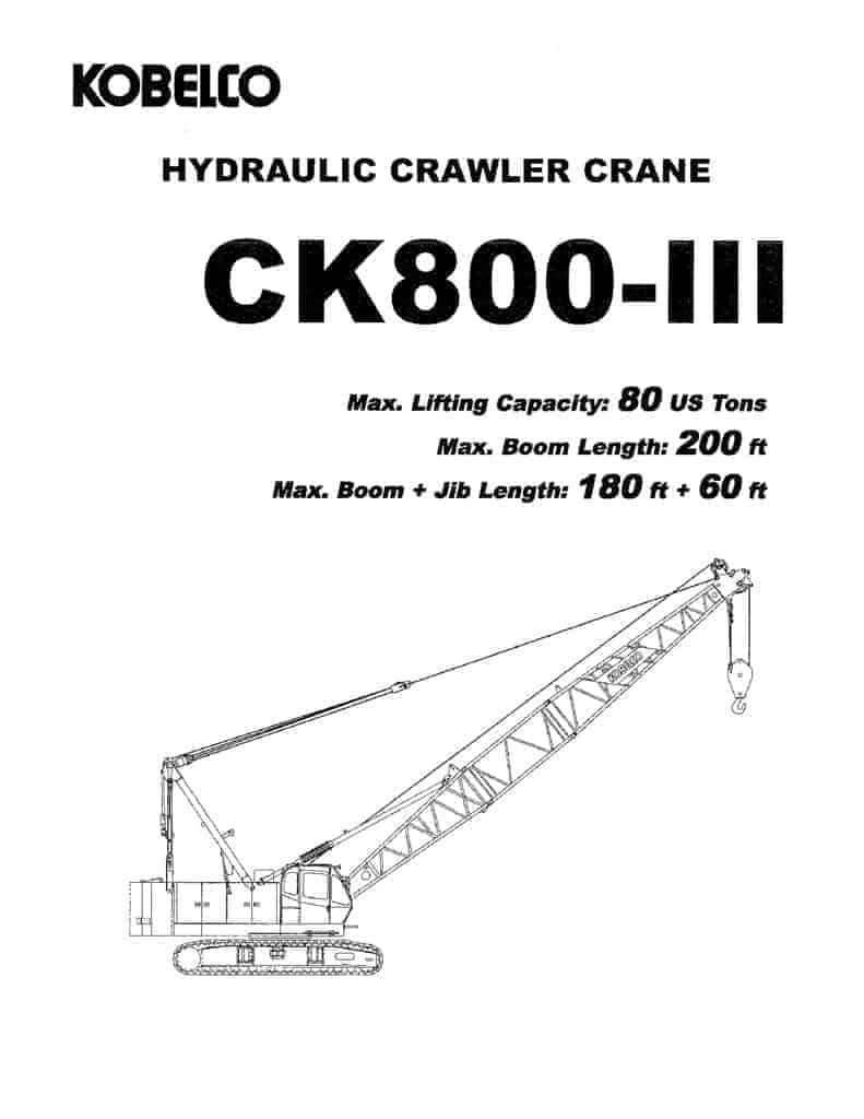 Kobelco CK800-3 specs, features & free load chart download
