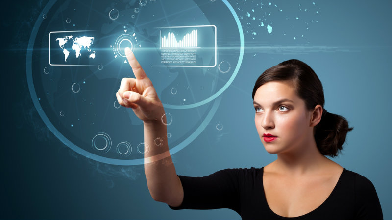 Woman pointing at tech