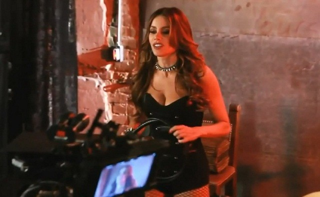 Sofia Vergara is a leather-clad maneater in this first on-set footage from MACHETE KILLS 2