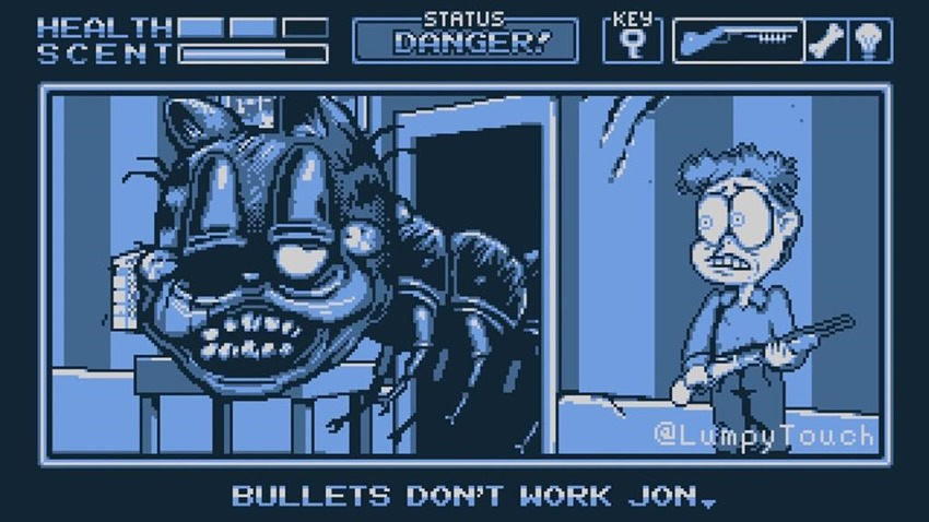 Watch A Nightmare Fuel Version Of Garfield Hunt For Lasagne In This Game Boy Horror Game Spoof