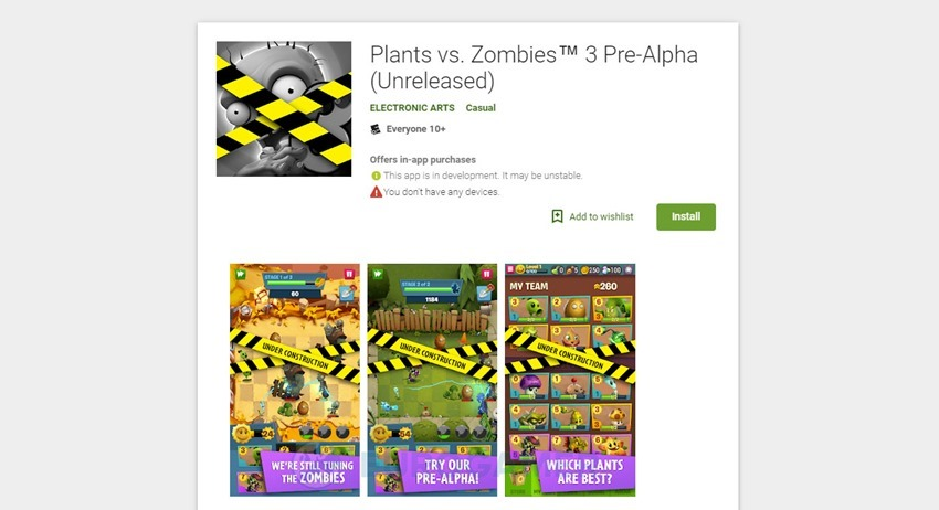 Plants vs. Zombies 3 announced, in pre-alpha on Android