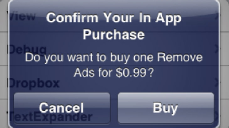 An in app purchase