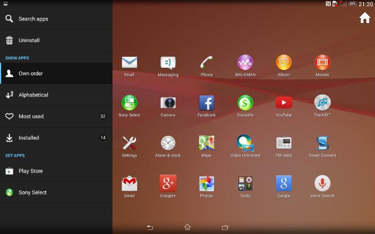 Z2 tablet apps