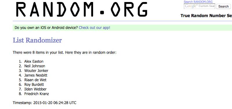 Random.org is everyone's friend...except Raptor
