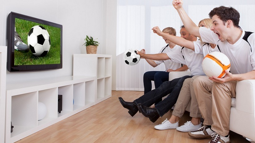 Jubilant family watching television as they cheer on their home side in a sporting competition; Shutterstock ID 112822024; PO: aol; Job: production; Client: drone