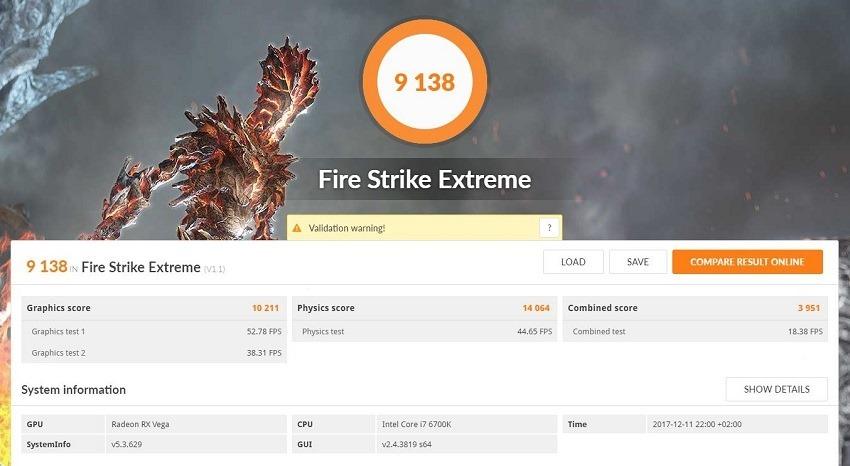 AMD Vega 56 - FireStrike Extreme