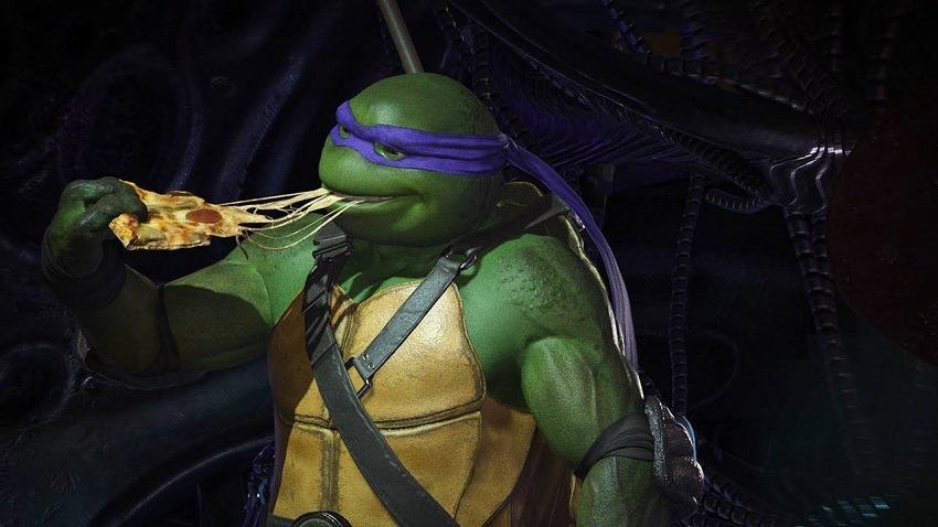 Teenage Mutant Nija turtles kickflip into Injustice 2