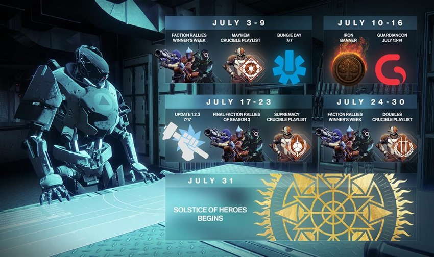 Destiny July calendar