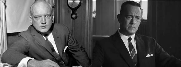 """El James Donovan real y Tom Hanks como Donovan en """"El puente de los espías""""."""