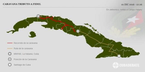 Caravana #TributoaFidel llega a Jatibonico para continuar rumbo a la provincia de Ciego de Avila entrando por Campo Hatuey