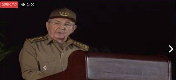 Comienza Raúl su discurso en el acto homenaje a Fidel en Santiago de Cuba. Foto: Captura de pantalla.