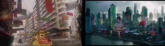 Rodado en Hong Kong y platós neozelandeses, el remake dirigido por Rupert Sanders procura recrear la estética ciberpunk del filme de 1995.