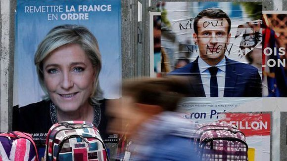 """Macron es favorito, pero algunos expertos consideran que Le Pen podría sorprender con el voto de """"los indecisos"""". Foto: Reuters."""