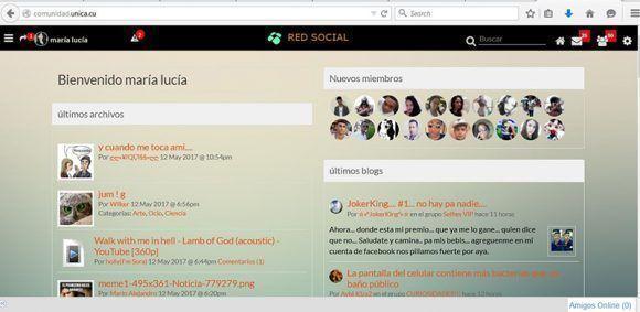 Vista interna de la red social Unica.