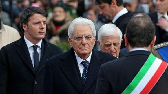 Al centro, el presidente de Italia, Sergio Mattarella. Foto: EFE.