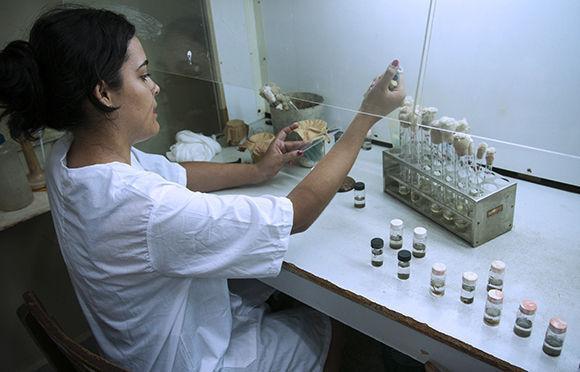 María Victoria trabaja con las muestras de agua. Foto: Irene Pérez/ Cubadebate.