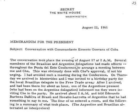 Fragmento del informe secreto que se realizó Goodwin sobre la reunión con el Che.