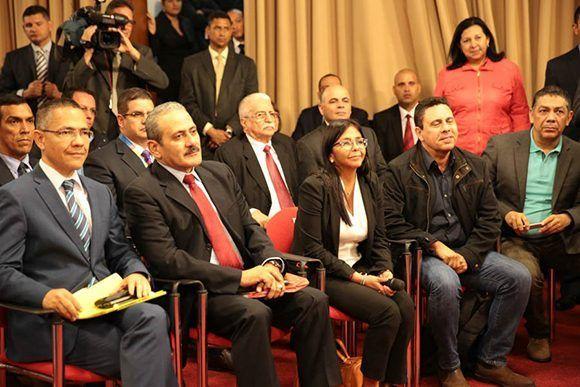 Altos funcionarios venezolanos en el Palacio de Miraflores. Foto: @PresidencialVen/ Twitter.