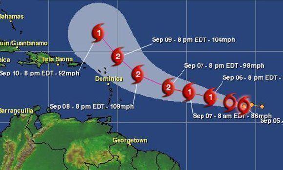 El huracán José puede llegar a categoría dos y luego descender otra vez. Imagen: Aeris Weather.