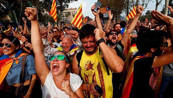 Catalanes celebran la Independencia. Foto: Juan Medina / Reuters